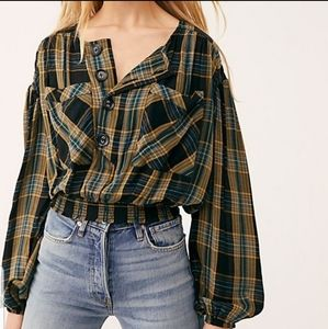 """NWOT. Free People """"It's The Good Life"""" Plaid Top"""